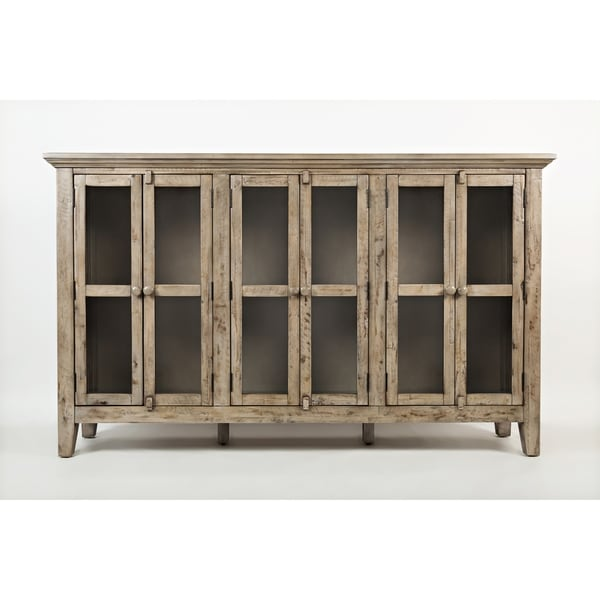 Shop Wooden Accent Cabinet With 6 Glass Doors Weathered Gray On