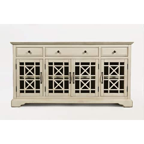 Craftsman Series Wooden Media Unit With Fretwork Glass Door Cabinet, Antique Cream