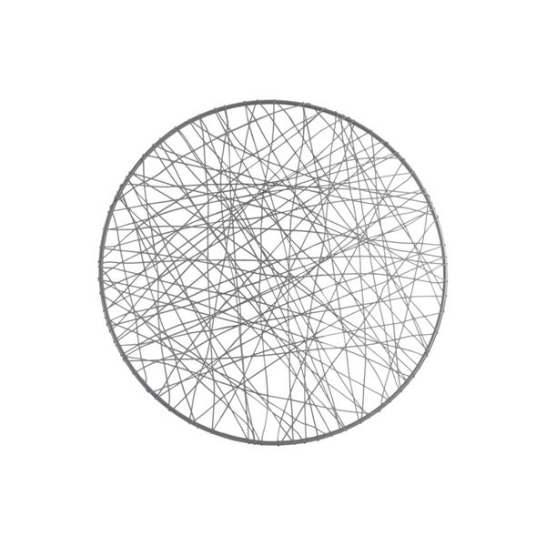 Round Shape Metal Wall Art with Abstract Lines Design, Large, Silver