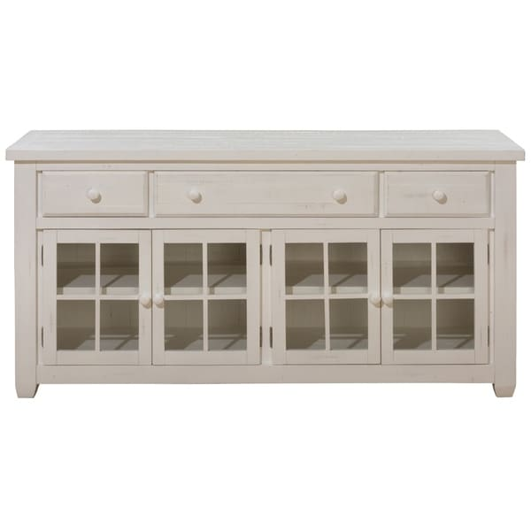 Wooden Media Console With Window Pane Gl Doors White On Free Shipping Today 23503773