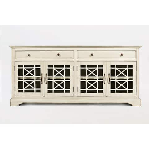 Craftsman Series 70 Inch Media Unit with Fretwork Glass Front, Antique Cream