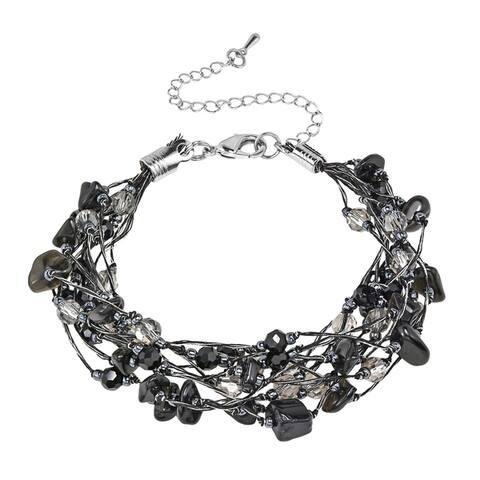 Handmade Elegant Layers Crystal Accents on Silk Thread Bracelet (Thailand)