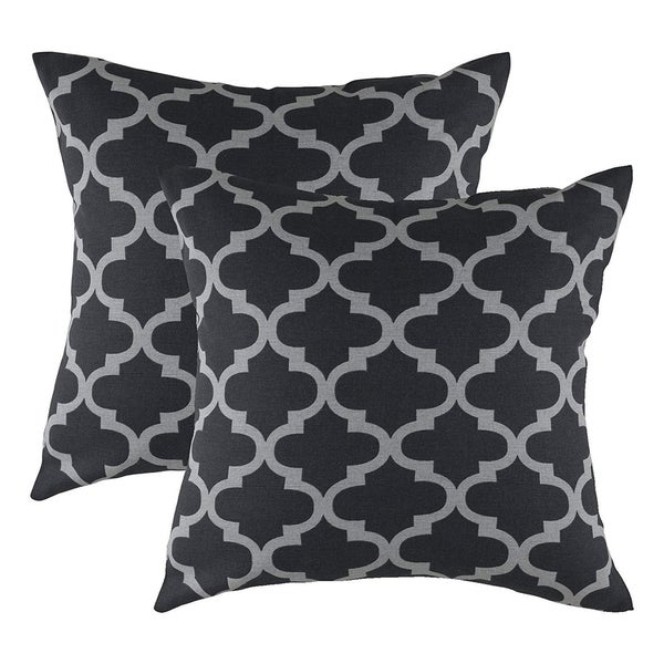 Pure Cotton Decorative Cushion Cover Black & Grey