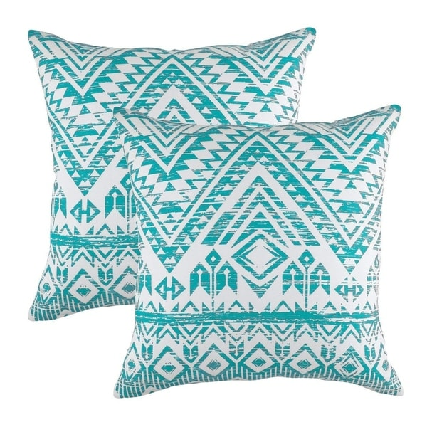 French Accent Pure Cotton Decorative Cushion Cover Turquoise