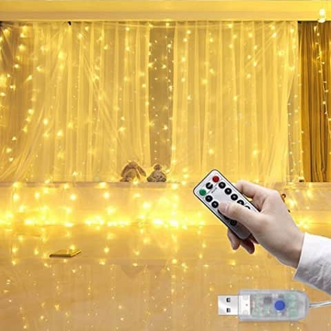 300LED Copper Wire Curtain Light 8 Modes Remote-control USB Waterproof Light