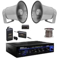 "Pyle PT110 Mono PA Amplifier,Lavalier Mic Set,6.3"" 25W Horn Speakers,100F Wire"