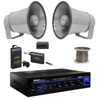 "Pyle PT110 Mono PA Amplifier,Lavalier Mic Set,6.3"" 25W Horn Speakers,100F Wire"