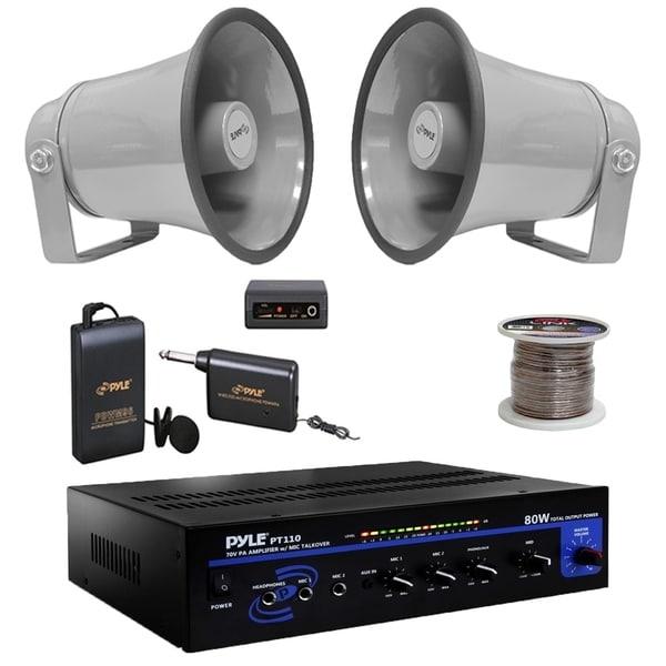 shop pyle pt110 mono pa amplifier,lavalier mic set,6 3\