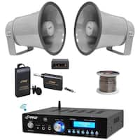 "Pyle PDA5BU USB Bluetooth 25W Amplifier, 6.3"" PA Speakers, Lavalier Mic Set, Wires"