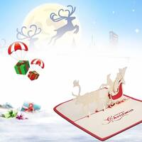 30pcs 3D Pop Up Santa Elk Ride Merry Christmas Series Invitation Greeting Cards - Red