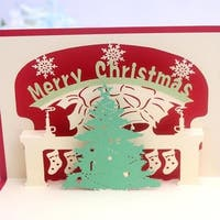 30pcs 3D Pop Up Festival Greeting Cards Merry Christmas Trees Shape Invitations Card - RED