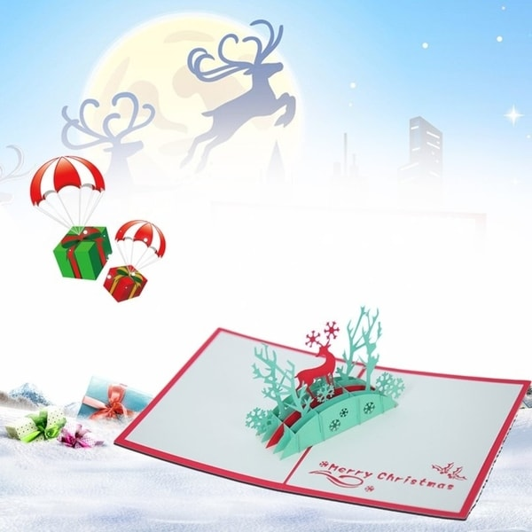20pcs 3D Pop Up Cards Elk Pattern Merry Christmas Series Invitation Greeting Cards - RED