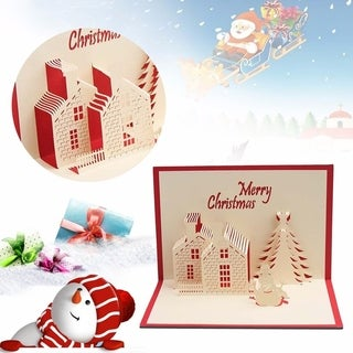 30pcs Beautiful Christmas Cards 3D Pop Up Merry Christmas Series Greeting Cards - RED