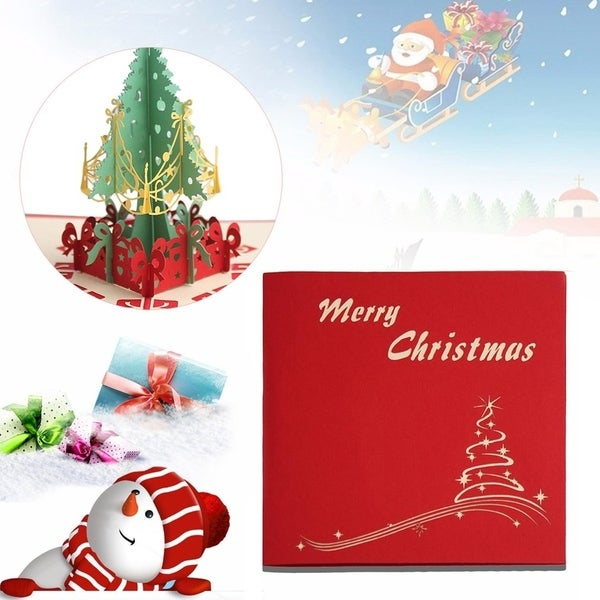 20pcs Handmade Christmas Cards 3D Pop Up Christmas Tree Invitation Greeting Cards - Red