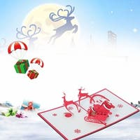 20pcs 3D Pop Up Dancing Elk Santa's Merry Christmas Series Invitation Greeting Cards - Red