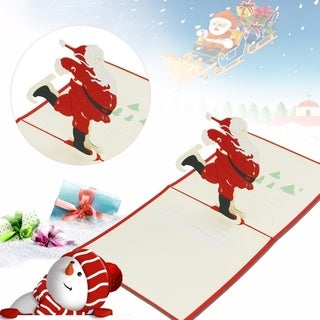 30pcs 3D Pop Up Cards Cute Dancing Santa Claus Christmas Series Greeting Card - RED