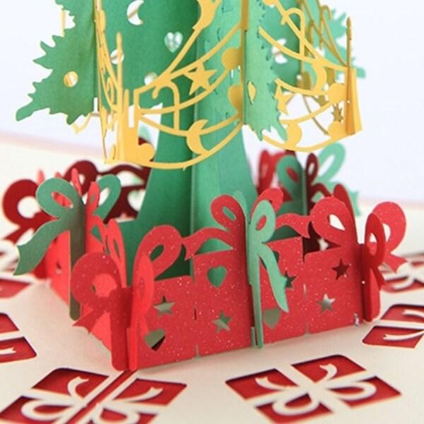 20pcs 3D Christmas Tree Card Papercraft Pop Up Greeting Card Christmas For Christmas - Red