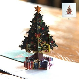 20pcs 3D Hollow Carved Christmas Tree Card Pop Up Cards Laser Cut For Christmas Day - colorful