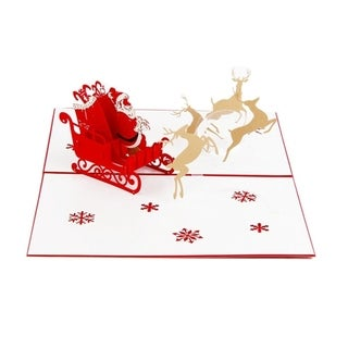 20pcs 3D Deer Car Card Pop Up Handcrafted Christmas Greeting Cards For Festival - RED