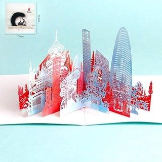 20pcs Merry Christmas Card Deer Car Pop Up Card Laser Cut For Christmas Card - colorful