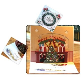 30pcs Christmas Card 3D Pop Up Congratulations Greeting Carving Cutout Postcard - MultiColor