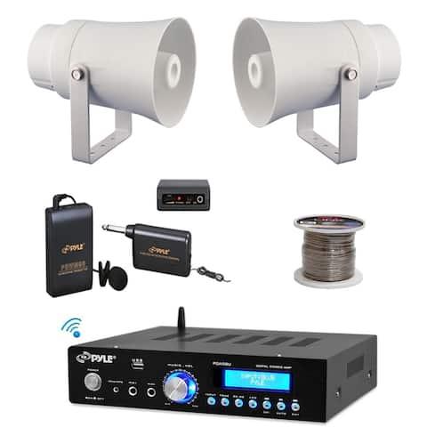 "Pyle PDA5BU Bluetooth PA Mini Amplifier, 5.6"" Horn Speakers, Lavalier Mic Set, Wire"