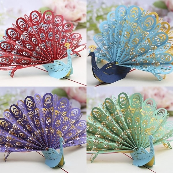 20pcs 3D Pop Up Laser Cut Greeting Cards Peacock Shape Birthday Invitations Card