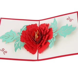 20pcs 3D Pop Up Cards Peony Flowers Year Wedding Mother's Day Greeting Cards