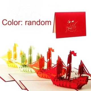 20pcs 3D Ship Cards Laser Cut Post Card Pop Up Greeting Card For Happy Birthday