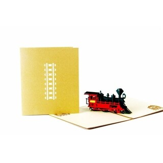 20pcs Retro Train 3D Pop Up Paper Cards Gold Cover Handmade Postcards For Best Wish
