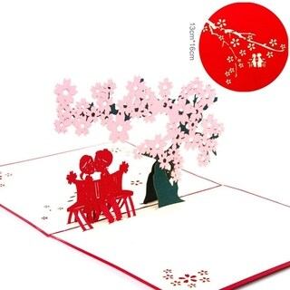 20pcs Cherry Blossoms Greeting Cards 3D Pop Up Cards Gifts For Valentine's Day