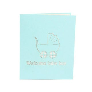 30pcs 3D Pop up Greeting Card Baby Carriage Invitation Card for Birthday