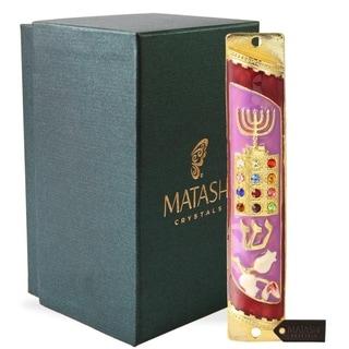 Matashi Hand Painted Enamel Mezuzah Embellished w/ Menorah, Priestly Breastplate