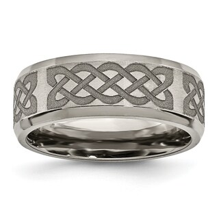 Chisel Titanium Beveled Edge 8mm Laser Design Brushed And Polished Band