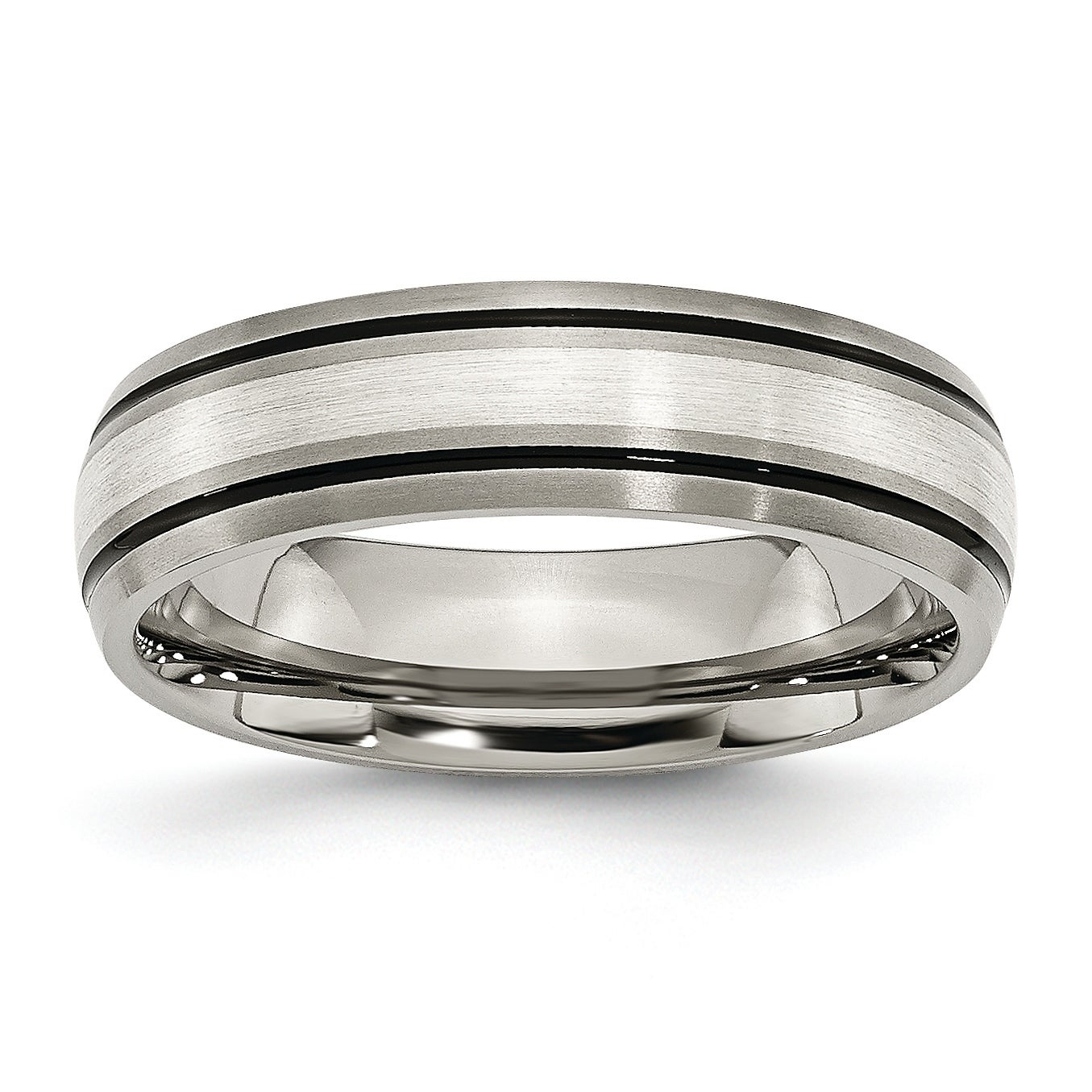 Titanium Grooved Edge 6mm Brushed and Polished Band Size 9.5 Length Width 6