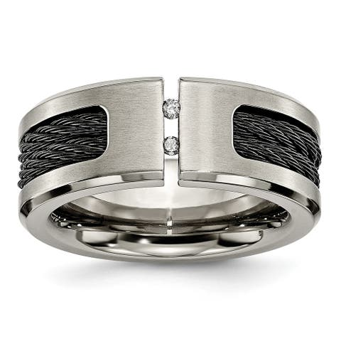 Chisel Titanium Black IP-plated Cable and Diamonds Polished and Brushed Band