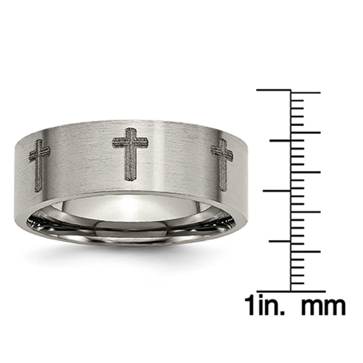Wedding Bands Religious Bands Titanium 8mm Laser Design Brushed Band Size 9.5