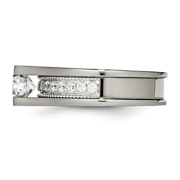 Titanium Polished Grooved CZ Ring Size 11 Length Width 8