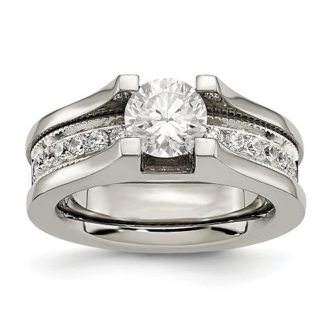 Chisel Titanium and Sterling Silver CZ Ring