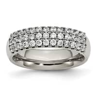 Titanium Multi-row CZ Ring
