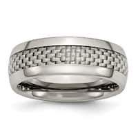 Titanium Polished with Grey Carbon Fiber Inlay 8mm Band
