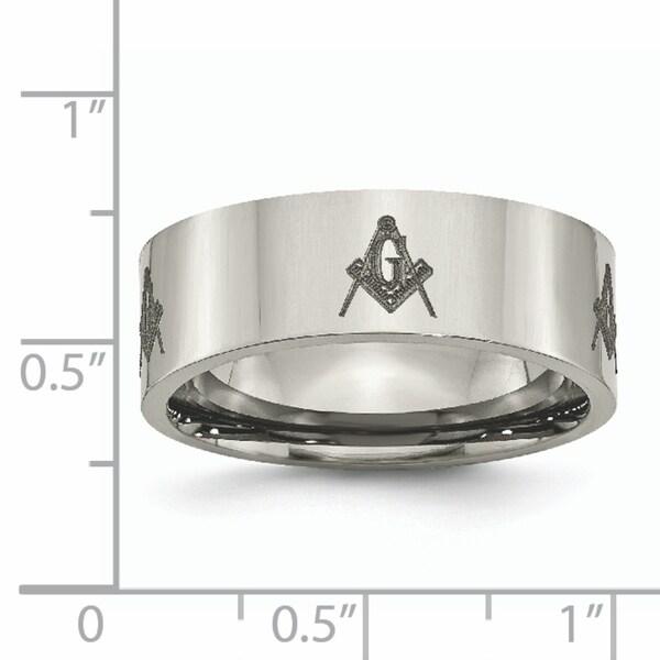 Titanium Flat 8mm Laser Design Polished Band