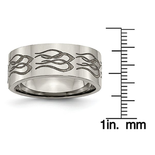 Titanium Flat 8mm Laser Design Polished Band