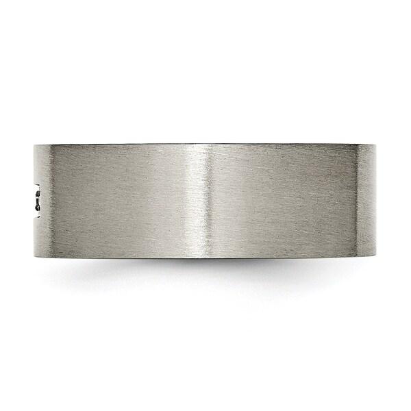 Titanium Brushed Diamond Cross Flat Band