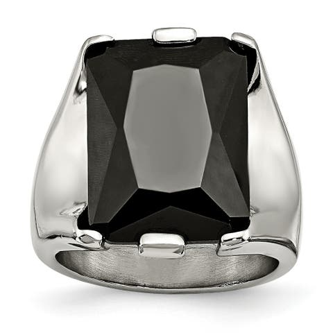 Chisel Stainless Steel Black CZ Polished Ring