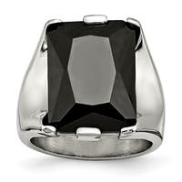 Stainless Steel Black CZ Polished Ring
