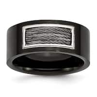 Stainless Steel Black IP-plated with Wire Inlay Ring