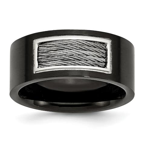 Chisel Stainless Steel Black IP-plated with Wire Inlay Ring