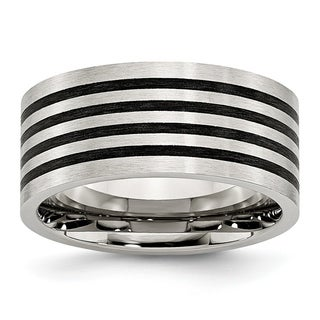 Stainless Steel Brushed Black Rubber 10.00mm Ring