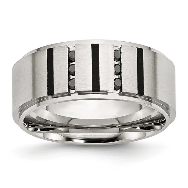 Chisel Stainless Steel Black IP-plated and Black Diamonds 9mm Brushed Band. Opens flyout.